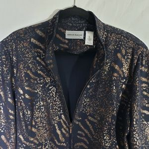 Alfred Dunner Women's Black Printed Jacket Size 18